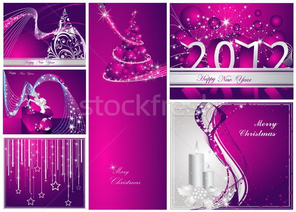 陽気な クリスマス 明けましておめでとうございます コレクション 銀 バイオレット ストックフォト © jelen80