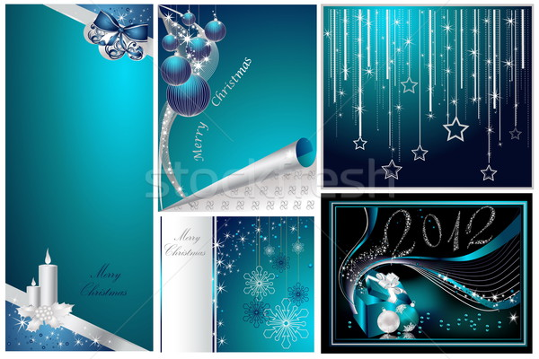 Merry Christmas and Happy New Year collection silver and blue Stock photo © jelen80