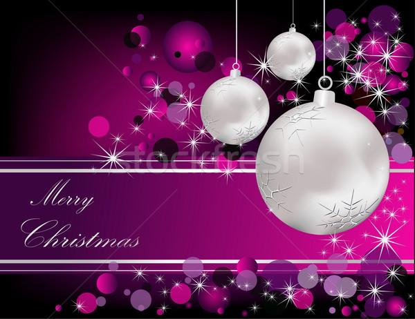 веселый Рождества серебро фиолетовый свет окна Сток-фото © jelen80