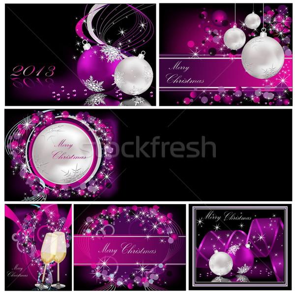 веселый Рождества фоны коллекция серебро фиолетовый Сток-фото © jelen80