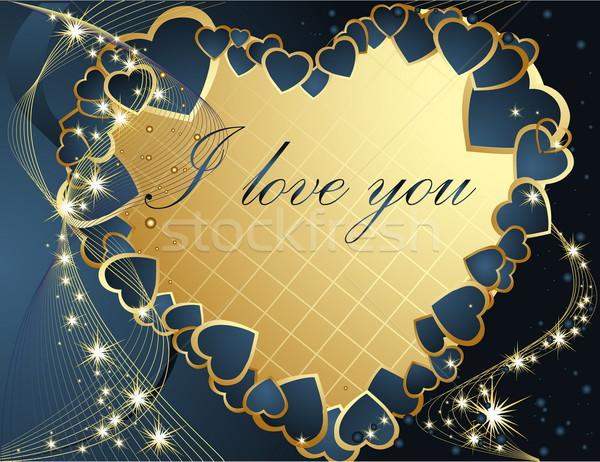 Valentin nap üdvözlőlap arany kék szív kártya Stock fotó © jelen80