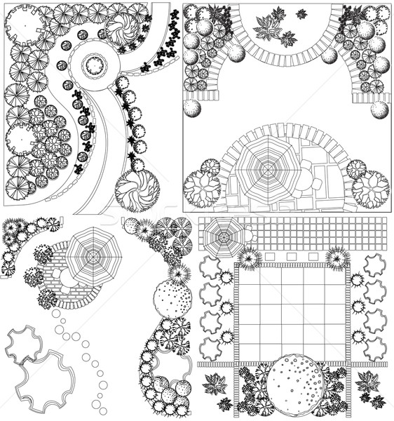 Vector Collections od  Landscape Plan with treetop symbols black and white Stock photo © jelen80