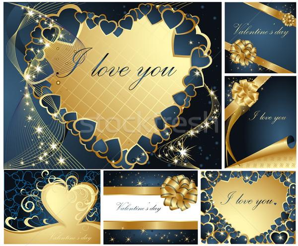 Gyűjtemény valentin nap üdvözlet kártyák arany kék Stock fotó © jelen80