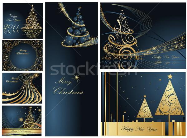 陽気な クリスマス 明けましておめでとうございます コレクション 金 青 ストックフォト © jelen80