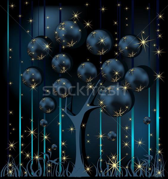 Christmas tree gold and blue Stock photo © jelen80
