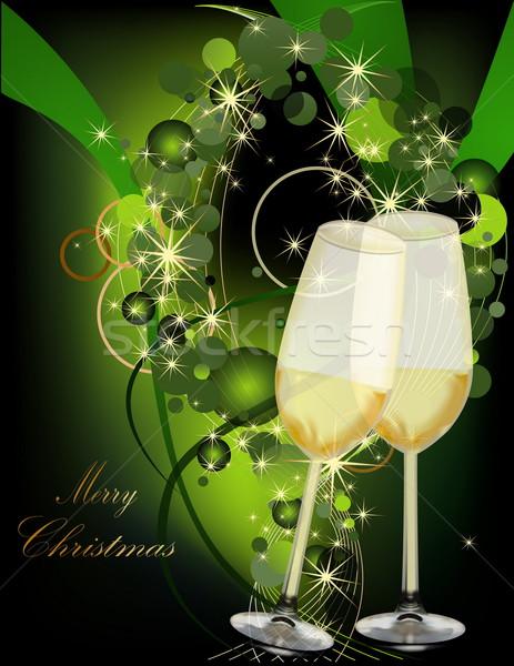 クリスマス 金 緑 光 ガラス 雪 ストックフォト © jelen80