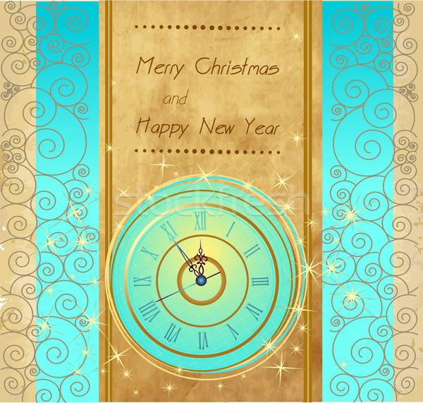 Feliz año nuevo alegre Navidad vintage reloj luz Foto stock © jelen80