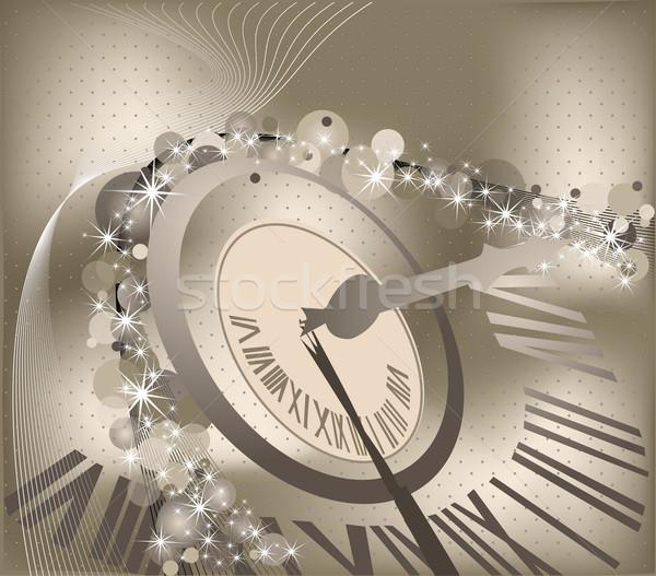 с Новым годом часы зима время звездой золото Сток-фото © jelen80