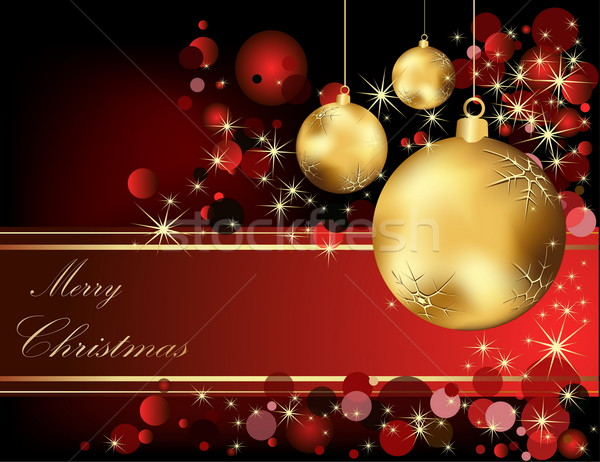 ストックフォト: 陽気な · クリスマス · 金 · 赤 · 光 · ボックス