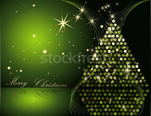 Karácsonyfa zöld arany tél csillag ajándék Stock fotó © jelen80