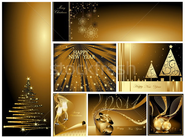 金 陽気な クリスマス 明けましておめでとうございます コレクション 光 ストックフォト © jelen80