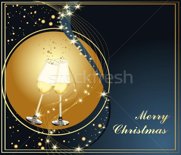 陽気な クリスマス 金 青 光 ガラス ストックフォト © jelen80
