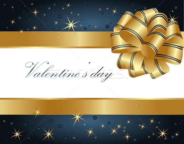 Valentine's greeting card gold and blue Stock photo © jelen80