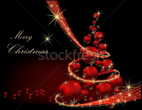 Karácsonyfa arany piros csillag ajándék árnyék Stock fotó © jelen80