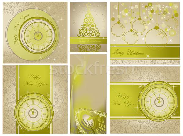 Gyűjtemény boldog új évet vidám karácsony hátterek fény Stock fotó © jelen80