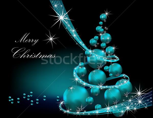 рождественская елка серебро синий свет звездой подарок Сток-фото © jelen80