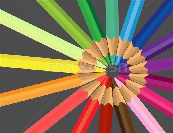 Vecteur crayons bureau enfant fond Photo stock © jelen80