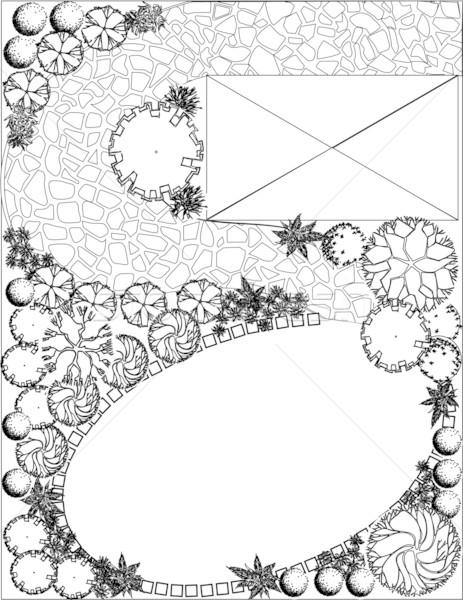 Plan jardin blanc noir symboles arbre eau Photo stock © jelen80