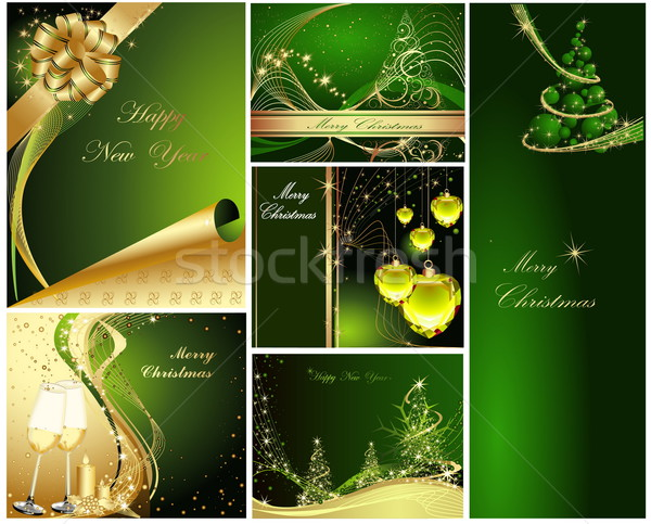 Joyeux Noël happy new year ensemble or vert Photo stock © jelen80