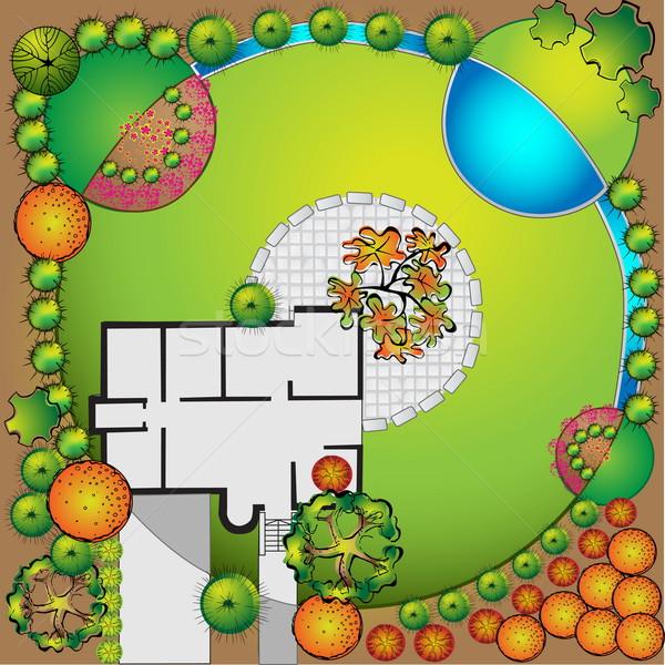 Foto stock: Plano · jardim · planta · símbolos · água · madeira