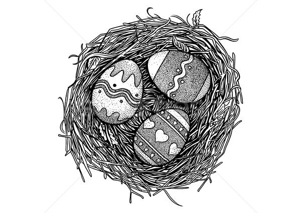 Easter egg, bird nest, illustration, drawing, engraving, vector Stock photo © JenesesImre