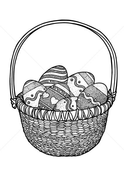 Cos cu oua de paste desen