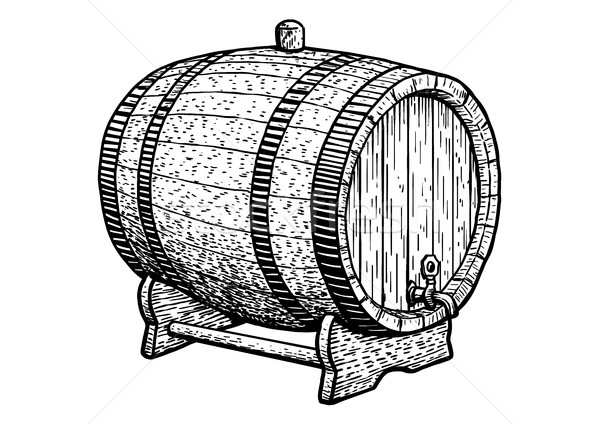 Barrel illustration, drawing, engraving, ink, line art, vector Stock photo © JenesesImre