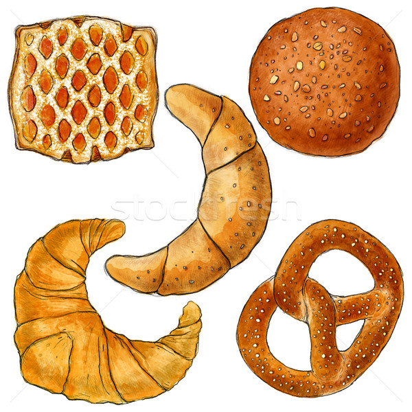 Bakery products illustration, drawing, watercolour, paint, breakfast, food Stock photo © JenesesImre