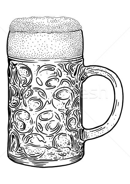 Beer glass illustration, drawing, engraving, ink, line art, vector Stock photo © JenesesImre