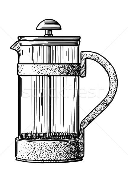 французский прессы банка кофеварка иллюстрация рисунок Сток-фото © JenesesImre