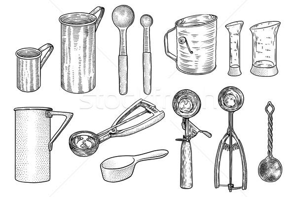 Kitchen utensil set illustration, drawing, engraving, line art, vector Stock photo © JenesesImre