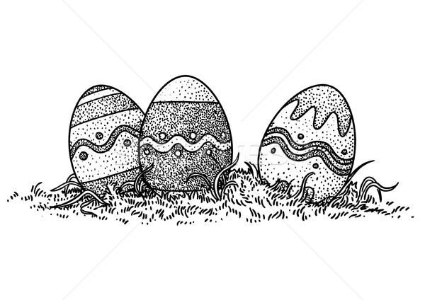 Easter eggs in grass illustration, drawing, engraving, vector Stock photo © JenesesImre