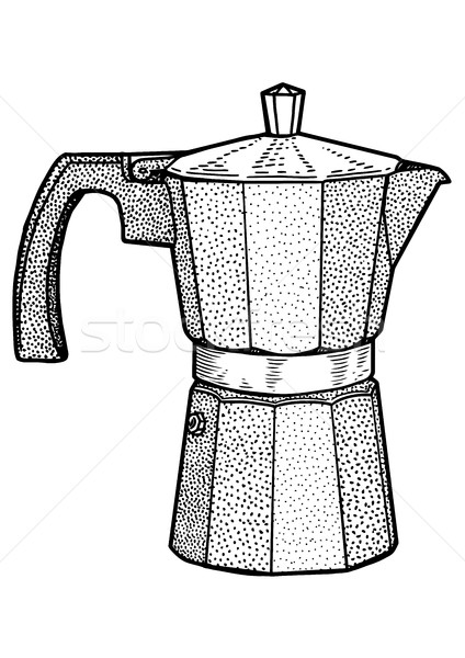 Italiaans koffiezetapparaat illustratie tekening inkt Stockfoto © JenesesImre
