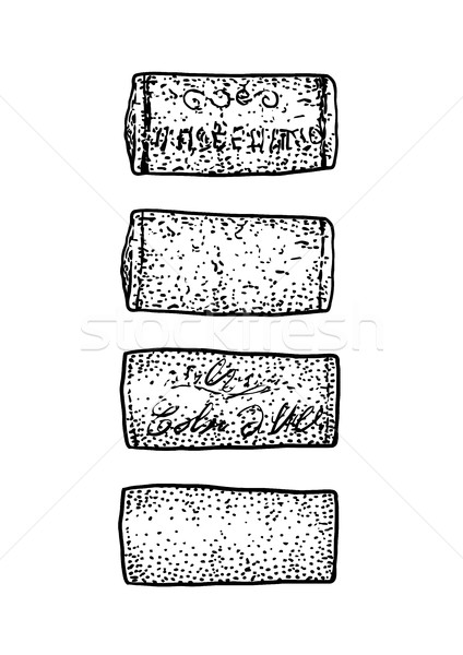 Wine cork illustration, drawing, engraving, ink, line art, vector Stock photo © JenesesImre