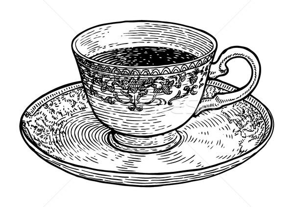 Foto d'archivio: Tazza · di · caffè · illustrazione · disegno · inchiostro · line