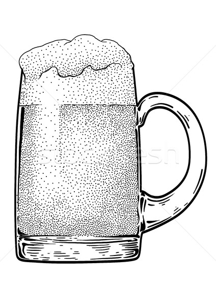 Beer mug illustration, drawing, engraving, ink, line art, vector Stock photo © JenesesImre