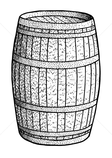 Barrel illustration, drawing, engraving, ink, line art, vector Stock photo © JenesesImre