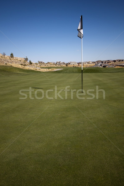 Campo de golfe verde azul grama verão Foto stock © jeremywhat