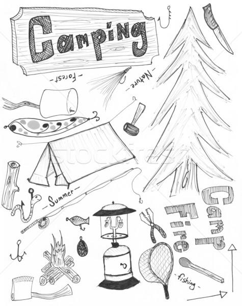 Camping tekening net tent kamp Stockfoto © jeremywhat