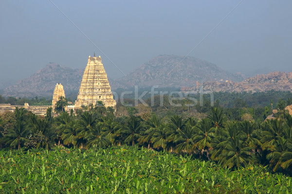 Tempel bergen palm zonsopgang berg Stockfoto © jet