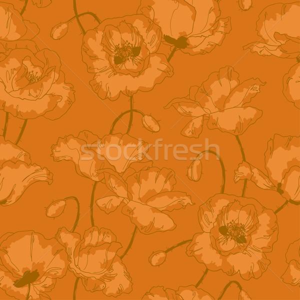 Klasszikus végtelen minta pipacs virágok végtelenített virágmintás Stock fotó © jet