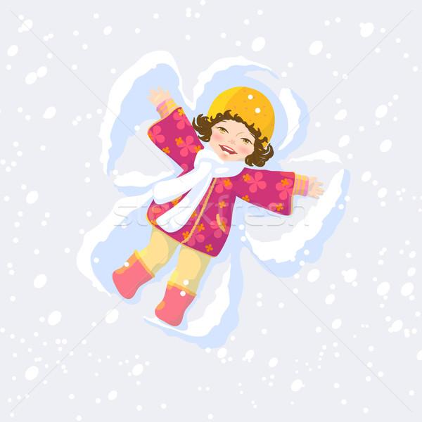 Hó angyal csinos lány gyártmány szárnyak Stock fotó © jet