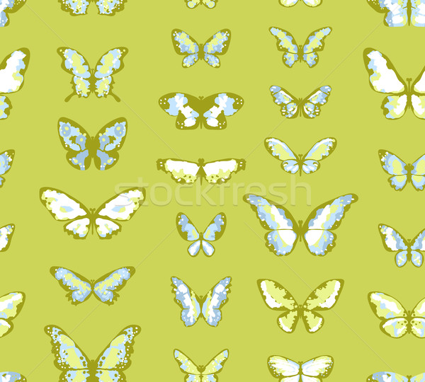 Green seamless highly detailed background with butterflies Stock photo © jet
