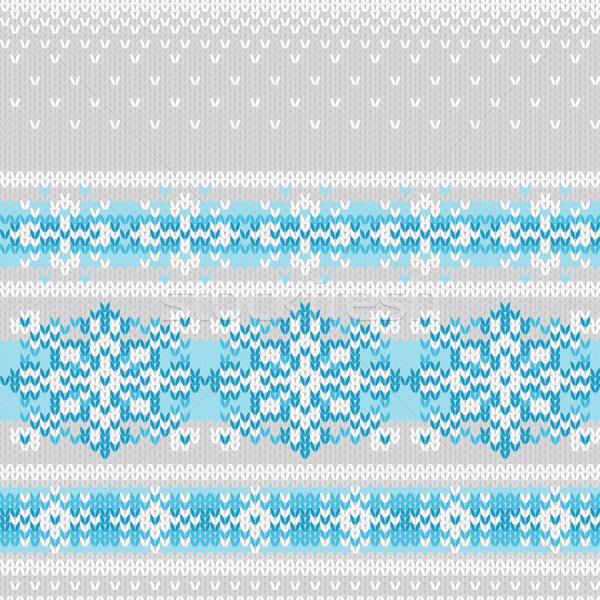 Vetor sem costura tricotado padrão flocos de neve imitação Foto stock © jet