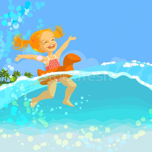 Happy little girl swim in inflatable ring Stock photo © jet