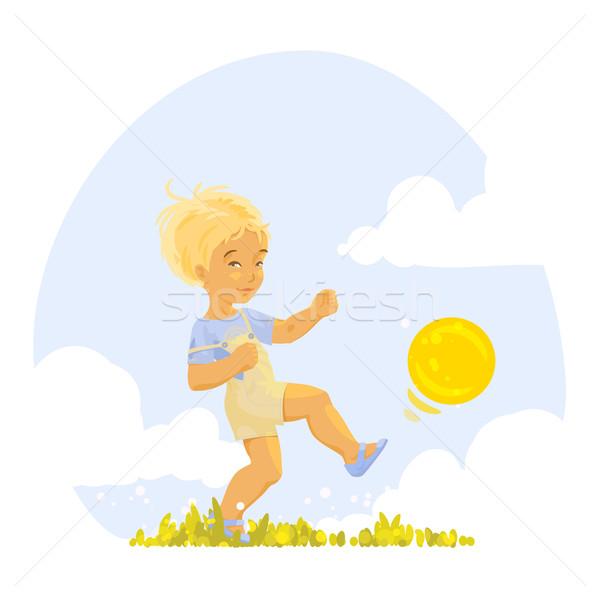 Fiú játszik labda napos nyár nap Stock fotó © jet