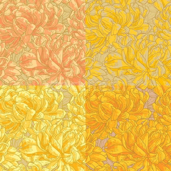 Four seamless pattern with chrysanthemum Stock photo © jet