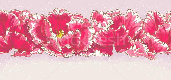 Három piros tulipánok körvonal rajz vízfesték Stock fotó © jet