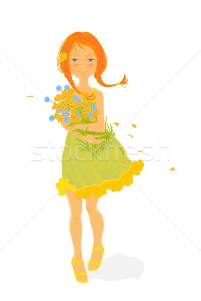 довольно девушки букет белый женщину Сток-фото © jet