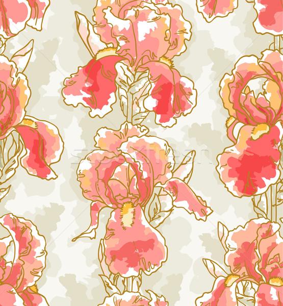 Végtelen minta írisz végtelenített virágmintás minta kéz Stock fotó © jet
